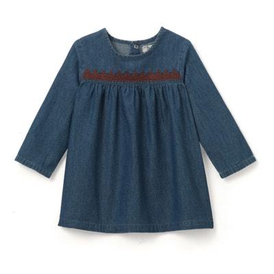 Vestido de ganga bordado, 1 mês - 3 anos Vestido de ganga bordado, 1 mês - 3 anos La Redoute Collections