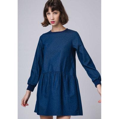 Flared Denim Dress with Round Neck Flared Denim Dress with Round Neck COMPANIA FANTASTICA