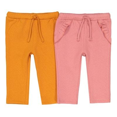 Lote de 2 pantalones de felpa lisos, 1 mes - 3 años Lote de 2 pantalones de felpa lisos, 1 mes - 3 años La Redoute Collections
