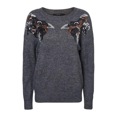 Pullover, runder Ausschnitt, Paillettenmotiv Pullover, runder Ausschnitt, Paillettenmotiv VERO MODA