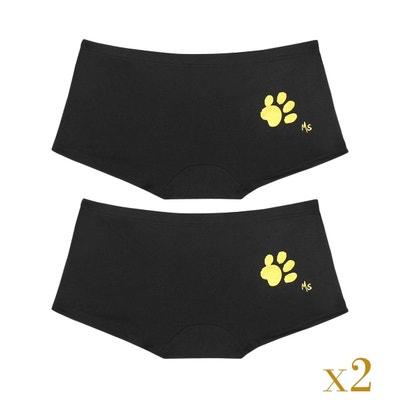 Lot de 2 Boxer femme en coton - motif patte de chat dorée Lot de 2 Boxer femme en coton - motif patte de chat dorée MINA STORM