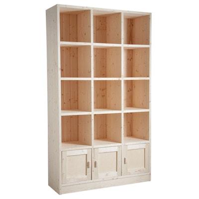 bibliothque 12 cases 3 portes en pica brut bibliothque 12 cases 3 portes en pica brut