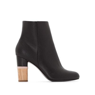 Boots pelle tacco effetto legno La Redoute Collections