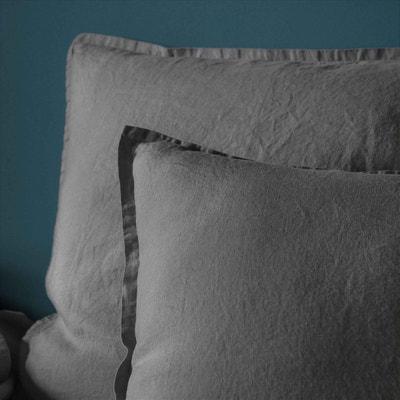 Taie d'oreiller en lin lavé véritable Taie d'oreiller en lin lavé véritable BLANC CERISE