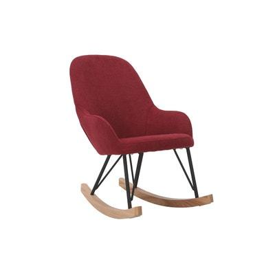 Fauteuil Rocking Chair Enfant Tissu Bordeaux Pieds Mtal Et Bois JHENE