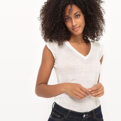T-shirt met V-hals in linnen La Redoute Collections