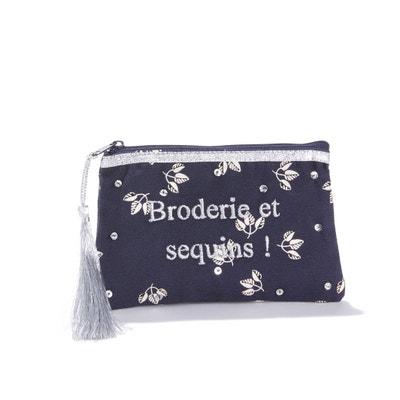 Клатч с надписью с блестками и вышивкой AUDE Клатч с надписью с блестками и вышивкой AUDE PETITE MENDIGOTE