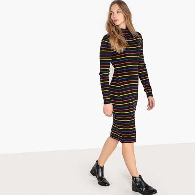 Gestreepte jurk in tricot, 100% katoen Gestreepte jurk in tricot, 100% katoen La Redoute Collections