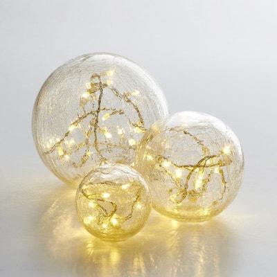 Bolas em vidro com efeito estalado Eudia, lote de 3 Bolas em vidro com efeito estalado Eudia, lote de 3 La Redoute Interieurs