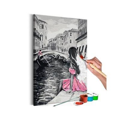Tableau à peindre soi-même - Venise (fille habilliée d'une robe rose) 60 x 60 Tableau à peindre soi-même - Venise (fille habilliée d'une robe rose) 60 x 60 ARTGEIST