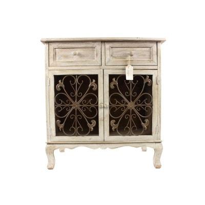 meuble confiturier rangement bois cesure blanc 2 tiroirs 75x39x81cm decoration dautrefois