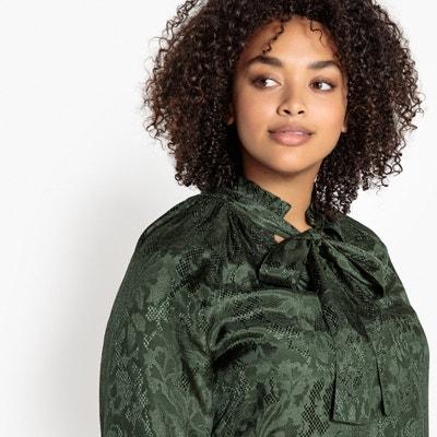 Blusa con chalina de tejido estilo jacquard, de manga larga Blusa con chalina de tejido estilo jacquard, de manga larga CASTALUNA