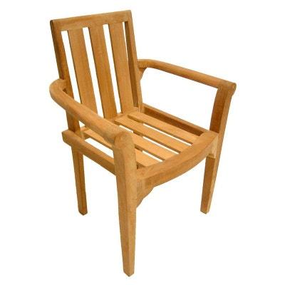 fauteuil de jardin en teck brut massif empilable 92cm summer fauteuil de jardin en teck brut - Fauteuil En Bois