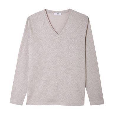 Pure Linen V-Neck T-Shirt La Redoute Collections