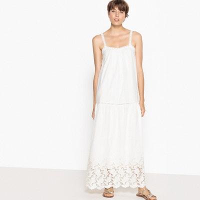Długa, gładka, rozszerzana sukienka na cienkich ramiączkach La Redoute Collections