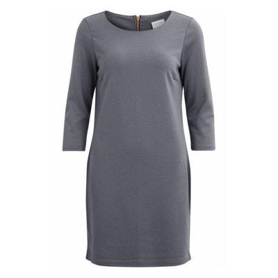 Rechte jurk met ritssluiting achteraan en 3/4 mouwen Rechte jurk met ritssluiting achteraan en 3/4 mouwen VILA