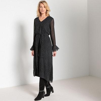 4606badf02533 Robe longue asymétrique, imprimée, manches longues ANNE WEYBURN