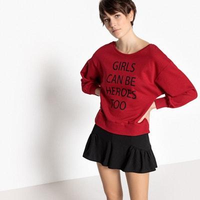 Heroes Slogan Cotton Sweatshirt Heroes Slogan Cotton Sweatshirt La Redoute Collections
