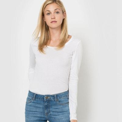 Camiseta con cuello redondo de manga larga, de algodón orgánico Camiseta con cuello redondo de manga larga, de algodón orgánico La Redoute Collections
