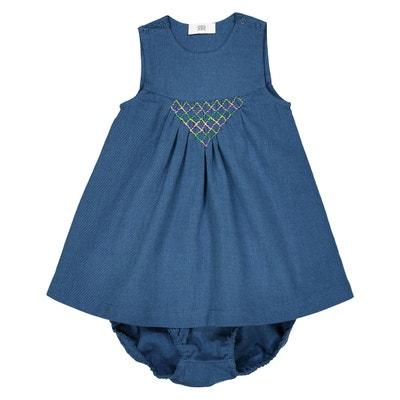 Conjunto vestido e calções, em ganga, 0 mês - 3anos La Redoute Collections