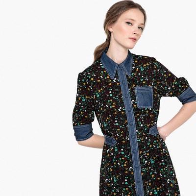 Robe chemise imprimée fleurs, détails en jean Robe chemise imprimée fleurs, détails en jean MADEMOISELLE R