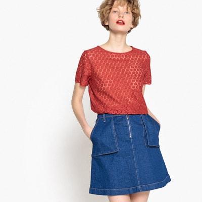 Bluse, runder Ausschnitt, kurze Ärmel, Lochstickerei MADEMOISELLE R