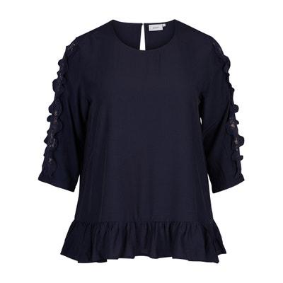 Unifarbene Bluse, weite Boyfriend-Schnittform, runder Ausschnitt, 3/4-Ärmel ZIZZI