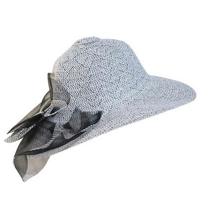 Chapeau de cérémonie blanc noir Elise CHAPEAU-TENDANCE