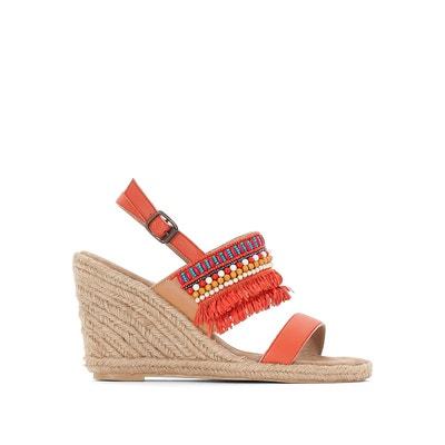Sandales cuir compensées détail perles et franges MADEMOISELLE R