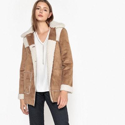 7a9e886d378c5 Manteau mi-long effet peau lainée VADAL Manteau mi-long effet peau lainée  VADAL. Soldes