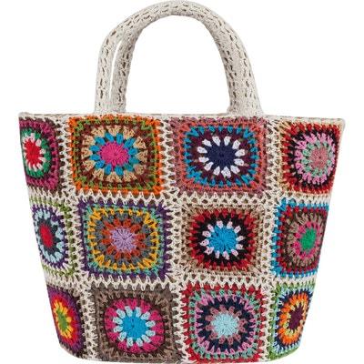 Panier en paille et patchwork de crochet Panier en paille et patchwork de crochet BEAU COMME UN LUNDI