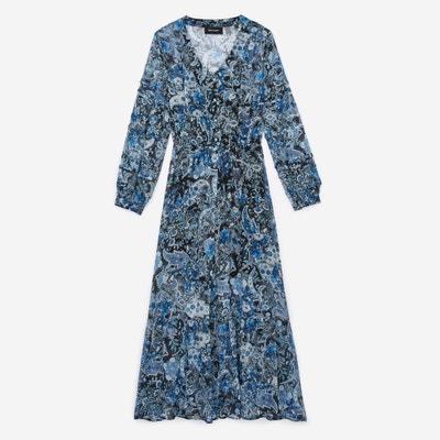 Bedrukte jurk met knopen in zuiver zijde THE KOOPLES