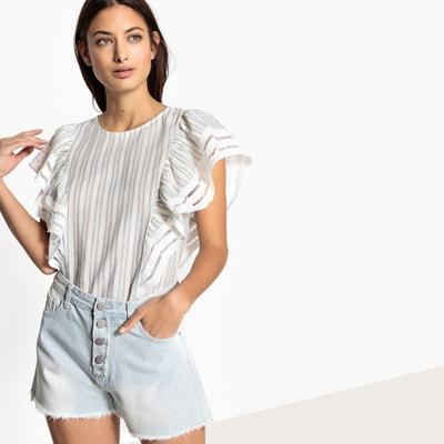 Bedruckte Bluse mit kurzen Ärmeln und Rundhalsausschnitt Bedruckte Bluse mit kurzen Ärmeln und Rundhalsausschnitt SEE U SOON