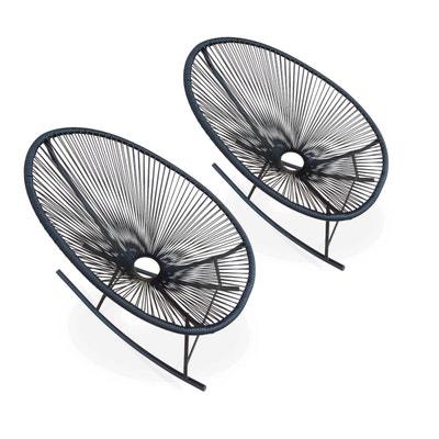 Ensemble de 2 fauteuils à bascule Acapulco chaise oeuf design rétro rocking Noir ALICE S GARDEN