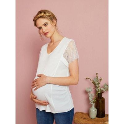 0a9f4310bf6d2 T-shirt de grossesse manches courtes dentelle T-shirt de grossesse manches  courtes dentelle. Soldes