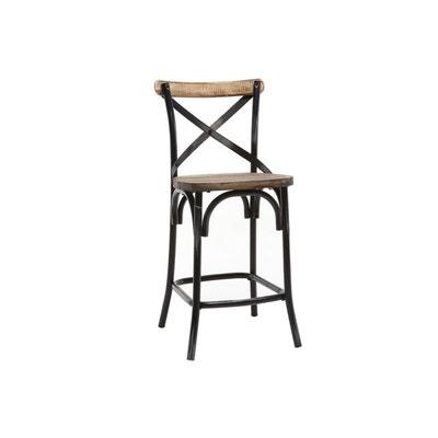 tabouret de bar industriel en mtal noir et bois jake miliboo - Tabouret De Bar Metal Industriel