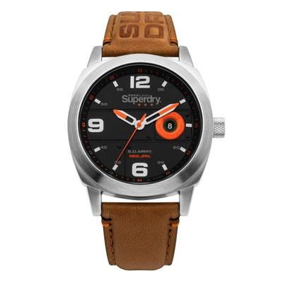 cfe6b5380736e Montre homme Superdry CAPORAL bracelet cuir véritable SUPERDRY
