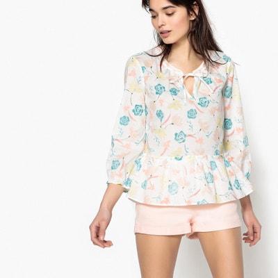 Bedrukte blouse met gestrikte ronde hals, 3/4 mouwen Bedrukte blouse met gestrikte ronde hals, 3/4 mouwen BENETTON