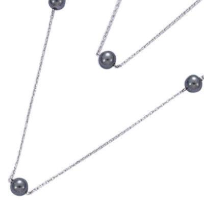 Collier Sautoir Chaîne Perles Grises 85 cm Argent 925 Collier Sautoir  Chaîne Perles Grises 85 cm. SO CHIC BIJOUX 3bf25e2ba79