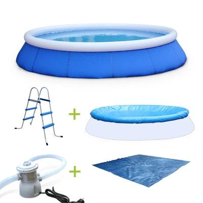 Kit piscine Cristal ?420x84cm gonflable bleue, autoportante ronde avec pompe de filtration, bâche, tapis de sol et échelle Kit piscine Cristal ?420x84cm gonflable bleue, autoportante ronde avec pompe de filtration, bâche, tapis de sol et échelle ALICE S GARDEN