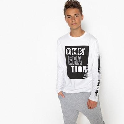 t-shirt col rond manches longues imprimé 10-16 ans La Redoute Collections