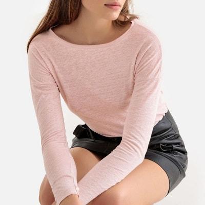 solde Redoute femme Tee La en shirt rose lin BxZWnUg6w