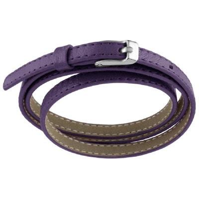Bracelet Fin Enroulé 3 Rangs Fermoir Boucle Ceinture Cuir Violet Acier  Bracelet Fin Enroulé 3 Rangs. SO CHIC BIJOUX 0b524b44e9b