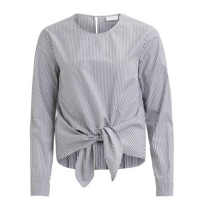 Tie Waist Striped Cotton Blouse VILA