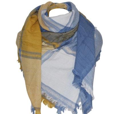 Grosse écharpe XXL moutarde bleue CHAPEAU-TENDANCE 722fc14e632