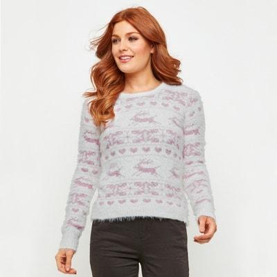 Пуловер жаккардовый для Рождества с круглым вырезом и длинными рукавами Пуловер жаккардовый для Рождества с круглым вырезом и длинными рукавами JOE BROWNS