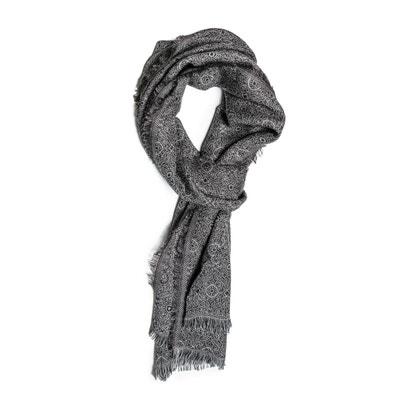 Echarpe laine imprimee cachemire taupe Echarpe laine imprimee cachemire  taupe CARNET DE VOL 258b1a4fa74