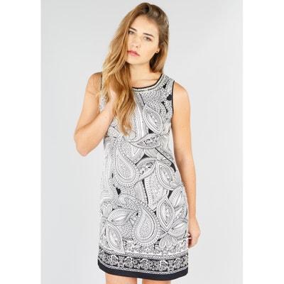 Rechte jurk zonder mouwen met kasjmierprint RENE DERHY
