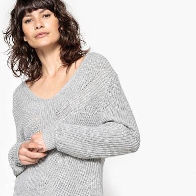 Sweter tunika, dekolt w serek, wełna La Redoute Collections