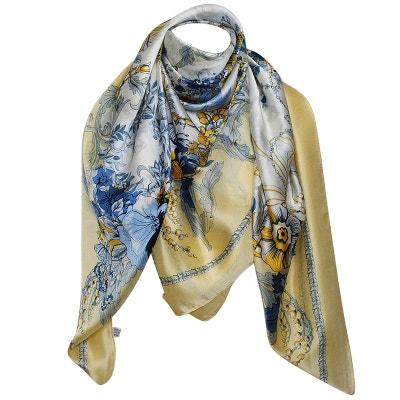 Grand foulard soie floraljal Grand foulard soie floraljal CHAPEAU-TENDANCE 9674556cf16